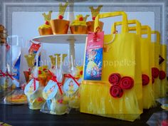 Beautiful treats and favors at a Beauty and the Beast birthday party! See more party ideas at CatchMyParty.com!