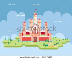 Flat Design Castle Cartoon Magic Fairytale Icon Landscape Background Template Vector Illustration