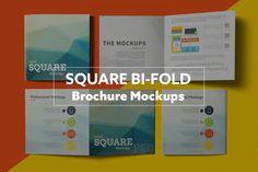 Square Bi-Fold Brochure Mockups by Kongkow on Creative Market