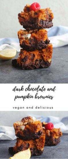 Vegan Dark Chocolate and Pumpkin Brownies (fudgy and delicious) - perfect as an evening treat with a cup of tea or a pre-workout pic me up!