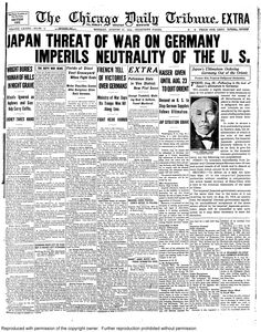Aug. 17, 1914: Japanese threat of war on Germany imperils neutrality of the United States.