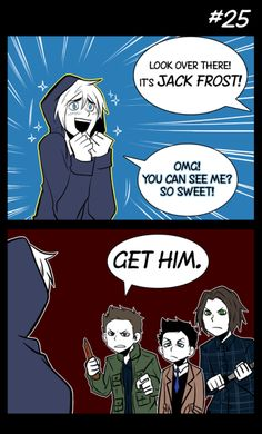 Supernatural crossover Rise of the Guardians- Hahha, why is this funny and terrible Supernatural Crossover, Supernatural Tattoo, Supernatural Fan Art, Supernatural Imagines, Supernatural Wallpaper, Supernatural Disney, Supernatural Bloopers, Castiel, Jack Frost