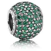 Pave Lights Dark Green CZ - Green symbolizes nature and the renewal of life. This sparkling sterling silver charm, with 94 pave-set dark green cubic zirconias, is a perfect for the outdoor enthusiast and those who appreciate the beauty of nature.