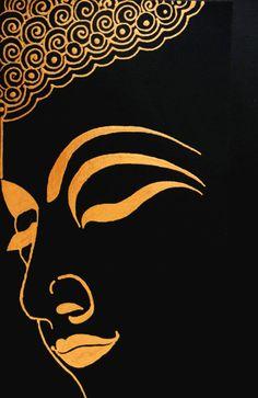 Golden Buddha painting serene home/office art by KrutisKreations