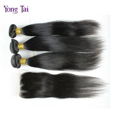 Peruvian virgin hair 4pcs/lot straight hair bundles with lace closure virgin human hair extension Peruvian straight hair