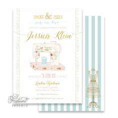 Printable invitations - bridal shower invitation - sew in love invitation - calligraphy - sew in love - freshmint paperie