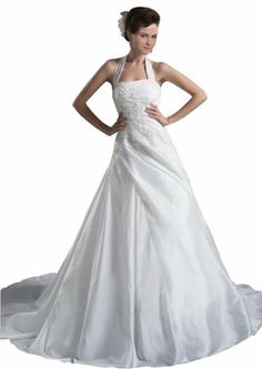 ZHUOLAN Halter Beaded Bodice Taffeta Over Satin A-line Wedding Gown