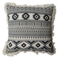 Yarn Dyed Multi Geo Fringe Square Decorative Pillow Cream - Room Essentials™