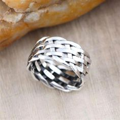 Men's Sterling Silver Braided Band Ring #SilverJewelry