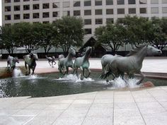 Mustangs of Las Colinas by Robert Glen. Located at Williams Square, Las Colinas, Irving, Texas