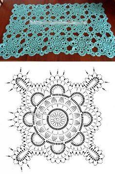 Crochet Diagram, Crochet Stitches Patterns, Crochet Chart, Crochet Designs, Crochet Cushion Cover, Crochet Cushions, Crochet Tablecloth, Crochet Doilies, Crochet Squares