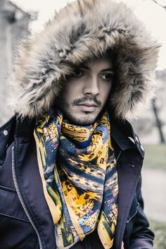 Paul for GEORGE by cocccon > non violence silk scarf collection. Model: Paul Gonzalez Sanchez Hair & Make-Up:  Angelique Waltenberg Photography & Styling:  Georg Andreas Suhr Label: GEORGE by cocccon Jon Snow, Fashion Photography, Hair Makeup, Winter Hats, Label, Silk, Collection, Jhon Snow, John Snow