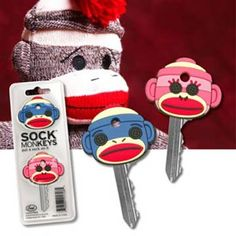 Sock MonKEYS Key Covers...cute way to tell your keys apart :)