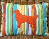 "Appliqued Golden Retriever Pillow With Tangerine, Yellow, Lime, Aqua, And White Stripes, 12"" X 16"""