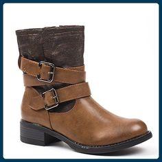 Ideal Shoes, Damen Stiefel & Stiefeletten , Braun - Camel - Größe: Fr 40