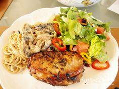 Pork chop, creamy mushroom pasta with salad.  Great dinner.. :-)