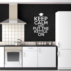 Keep Calm & Put The Kettle On Wall Decal - White from Winter Mystic Decals - (Save Pavement Art, Fresh Outfits, Vinyl Art, Buy Shoes, Keep Calm, Kettle, Graphic Illustration, Wall Decals, Fashion Online