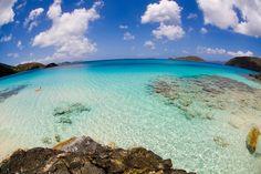 st john virgin islands | Fisheye view of Cinnamon Bay in the Virgin Islands National Park on ...