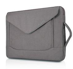 PLEMO Envelope Nylon Fabric 15-15.6 Inch Laptop / Notebook Computer Envelope Shoulder Bag Case Pouch Sleeve, Grey Plemo
