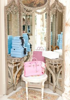 pink birkin + lanvin + gilded mirrors = heaven!
