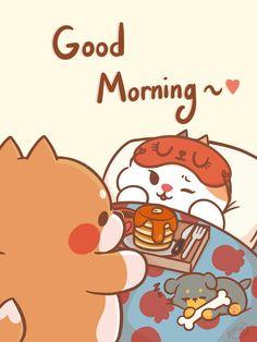 Cute Chibi Couple, Cute Couple Cartoon, Cute Love Cartoons, Good Morning Cartoon, Cute Good Morning, Cute Bear Drawings, Cute Animal Drawings Kawaii, Chibi Cat, Girl Emoji