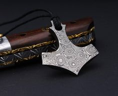 Thor's Hammer Hand Forged Damascus Steel Pendant for men Locket men Accessories gift for him Damascus Steel, Locket Necklace, Pendant Necklace, 1095 Steel, Thors Hammer, Tool Steel, High Carbon Steel, Necklace Lengths, Gifts For Him