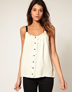 ASOS Cami With Ruffle And Button Front -- could be achieved w/an oversize button down DIY