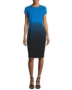 Short-Sleeve+Ombre+Sheath+Dress,+Black/Blue+by+Carmen+by+Carmen+Marc+Valvo+at+Neiman+Marcus.