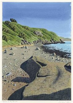 Artwork by Simon Palmer, Pebbles on the Beach, Made of Pen and black ink, watercolour and bodycolour on paper Landscape Art, Landscape Paintings, Landscape Drawings, Beautiful Book Covers, Soul Art, Naive Art, Modern Landscaping, New Art, Painting & Drawing
