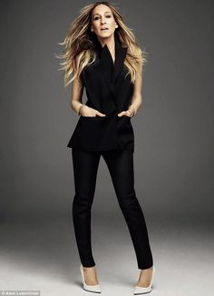 Sarah wears jacket top by Theory, trousers and shoes by Saint Laurent all available at net-a-porter