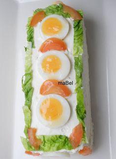 Tarta salada tipo el Corte Ingles con pionono de arroz (apto) ~ Pasteles de…
