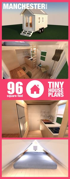 Tiny House Plans [96 Square Foot] Manchester Model. See all renderings, blueprints, and materials list here: http://tinyhousehold.com/product/14-foot-tiny-house-plans/