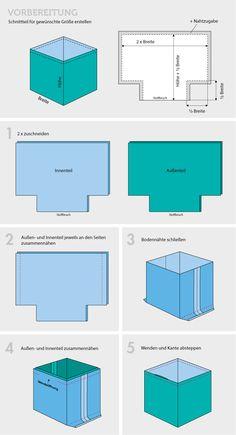 Anleitung für ein Stoffkorb/Utensilo mit eigenen Maßen - Schnittmuster und Utensilo selber nähen | Tolles Projekt für Nähanfänger