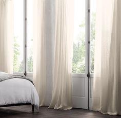 "pinstripe sheer belgian linen drapery (widths: 50"" or 100"" lengths"