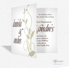 Hojas - Bodas: Invitación de diseño contemporáneo, es perfecta para ese día tan especial.
