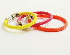 Unisex triple neon bracelet with silver clasp by pureshapes, $19.90