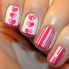 PackAPunchPolish: Half Swirl Hearts & Stripes Valentine's Day Nail Art