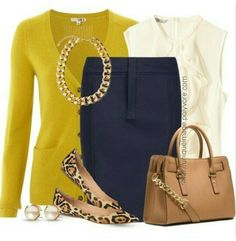 Fall attire for the office. Casual wear for the office. Mustard yellow. Leopard print flats with navy skirt.