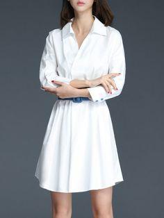 Shop Midi Dresses - Simple Plain V Neck Batwing A-line Midi Dress with Belt online. Discover unique designers fashion at StyleWe.com.