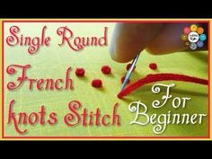 Hand Embroidery For Beginners Single Round French knots Stitch for beginners Hand Embroidery Videos, Types Of Embroidery, Embroidery For Beginners, Hand Embroidery Patterns, Embroidery Techniques, Embroidery Stitches, Aari Embroidery, Embroidery Dress, Embroidery Kits