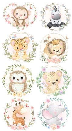 Cute animals with wreath clipart