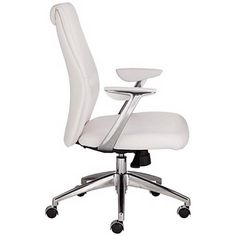 Martin White Faux Leather Low Back Aluminum Office Chair