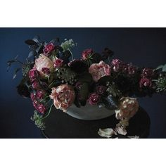 Fall peony and smokebush arrangement by Sullivan Owen