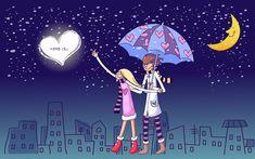 Love is . - Sweet Valentine Couple Art illustrations - Love is . - Valentine Couple under umbrella , Valentine's Day illustrations 9 Lovers Images, Lovers Pics, Love Couple Wallpaper, Love Wallpaper, Rain Wallpapers, Cute Cartoon Wallpapers, Love Cafe, Hd Love, Cute Love Couple