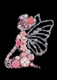 PINK auf Black Button Art Button von CherCreations Source by sharronangus Vintage Jewelry Crafts, Jewelry Art, Bead Crafts, Arts And Crafts, Bell Art, Diy Buttons, Crafts With Buttons, Buttons Ideas, Button Crafts