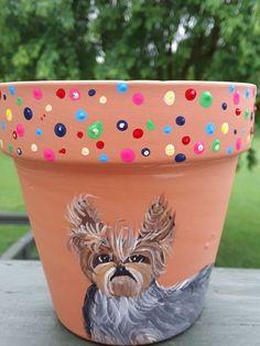 Hand Painted art Yorkshire Terrier YORKIE dog art   flower pot ooak artsy