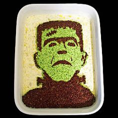 Create this edible portrait of a monster using a stencil.