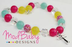 Easter Cross Chunky Necklace, Neon, Yellow Pink Blue, Girls Chunky Necklace, Girls Jewelry, Girls Hair bows, Modern Necklace. $21.95, via Etsy.