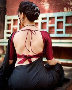 Blouse back neck designs are everything when it comes to picking a good blouse. Here are 40 latest blouse back neck designs that will inspire you to stitch the best blouse for your big day! Indian Blouse Designs, Blouse Back Neck Designs, Fancy Blouse Designs, Saree Blouse Designs, Blouse Patterns, Blouse Styles, Tribal Fusion, Saris, Saree Backless