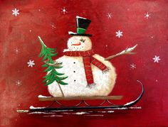 New Snowman On A Sled a original hand painted by DianeTrierweiler